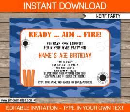 nerf birthday invitations editable template blue camo