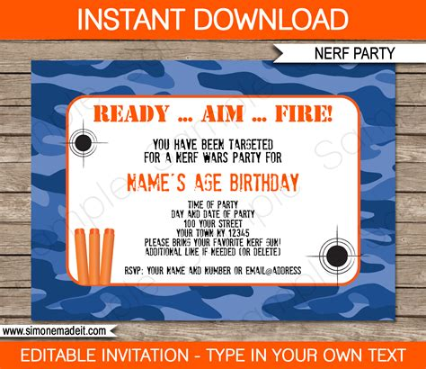 Nerf Gun Birthday Invitation Template Nerf Printables Blue Camo Editable Birthday Party Templates