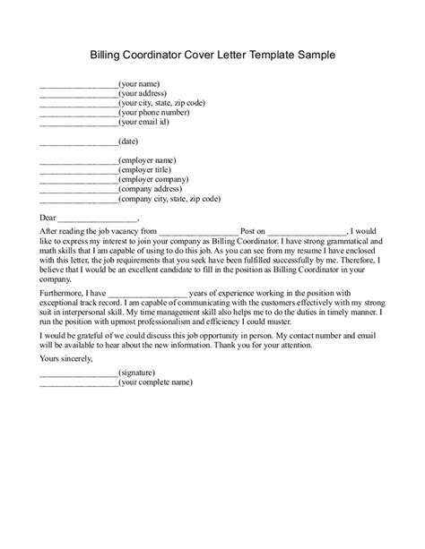 Billing Supervisor Cover Letter by Billing Cover Letter Billing Cover Letter Sle Resume For Billing And Coding
