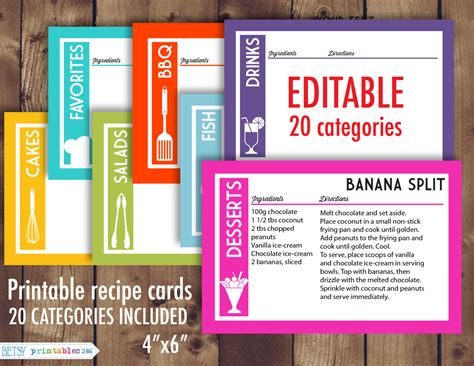 editable recipe card template free printable recipe cards 4x6 recipe cards editable recipe
