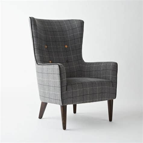 Contemporary Armchairs Victor Chair Buttoned Window Pane Plaid Contemporary