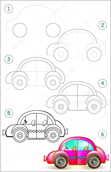 Autos Malen Kinder by Page Shows How To Learn Step By Step To Draw Car Stock