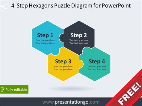 4 step hexagons puzzle diagram for powerpoint