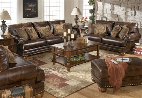 Traditional Living Room Furniture Sets Bonded Leather Antique Brown Sofa And Loveseat Living Room Set