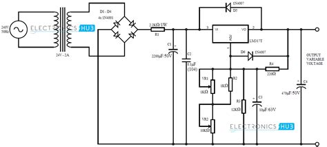 circuit diagram of variable power supply 0 28v 6 8a power supply circuit using lm317 and 2n3055