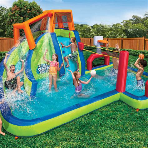 inflatable backyard water park banzai inflatable aqua sports splash pool and slide