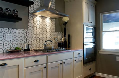 eclectic kitchen with geometric tile backsplash from heath