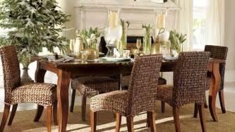 Long Brown Wooden Table Plus Dark Brown Wicker Chairs Cheap Dining Room Sets Atlanta Ga