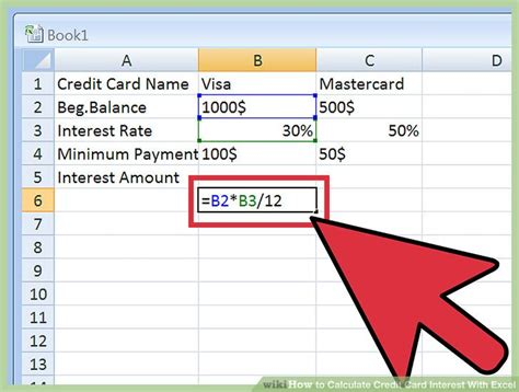 interest card template 3 ways to calculate credit card interest with excel wikihow