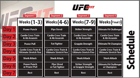 printable ufc schedule ufc fit workout calendar related keywords ufc fit