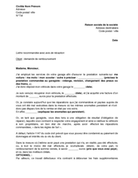 Demande De Garage Lettre Exemple Gratuit De Lettre Demande Remboursement Garagiste R 233 Paration D 233 Fectueuse V 233 Hicule