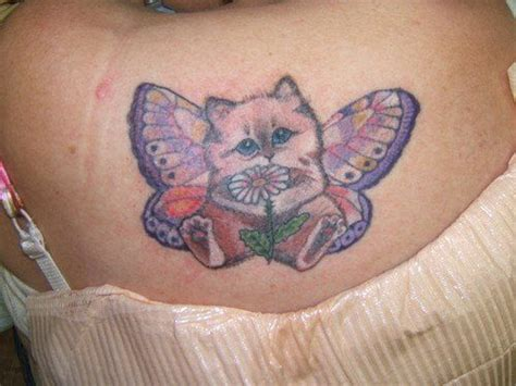 cat tattoo with butterfly a cute cartoon tattoo of a kitten with butterfly wings