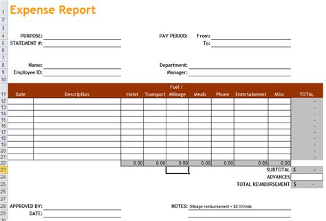 excel expense report template free download free