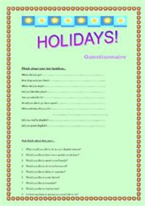 questionnaire quot coming back from holidays quot