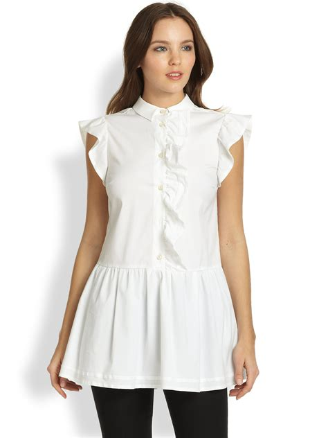 Tunic Blouse Angela 1 Lyst Valentino Ruffle Tunic Blouse In White