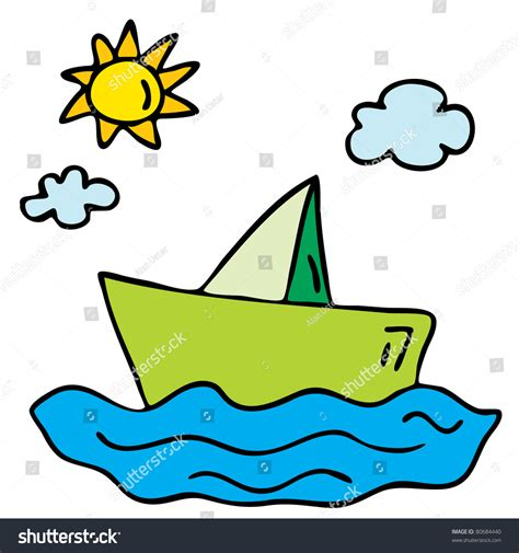 cartoon paper boat cartoon paper boat stock vector 80684440 shutterstock