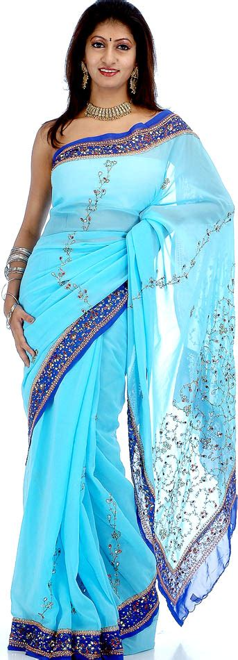 Cantika Syari Babyblue light and blue sari with sequins and