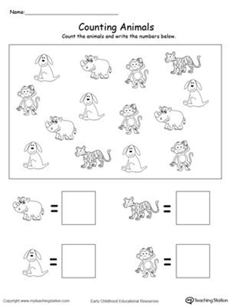 free printable animal numbers count and write the number of animals count animals and