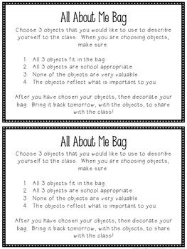 All About Me Bag Freebie by Kalena Baker - Teaching Made