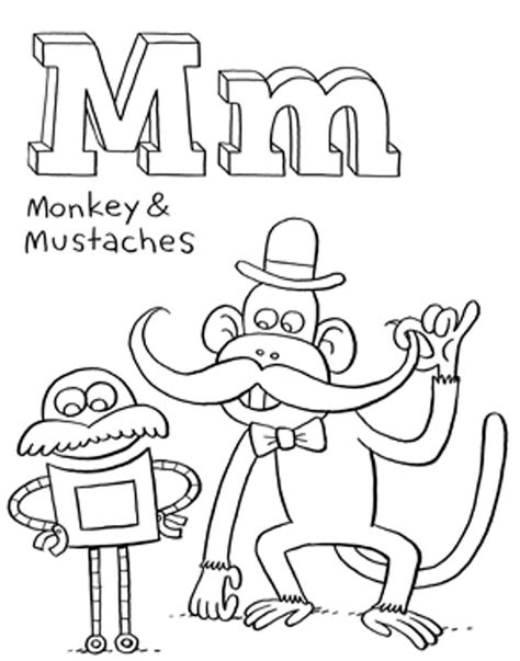 words of alphabet m mustaches and monkey free alphabet 30 best coloring activity sheets images on pinterest