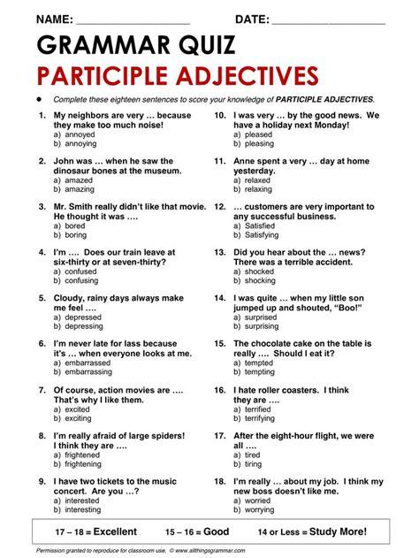 printable grammar quiz english grammar participle adjectives www allthingsgrammar