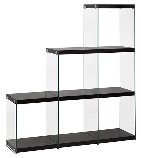 coaster 801260 black glass bookcase a sofa