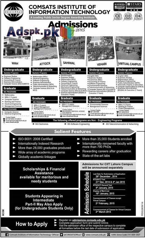 Last Date Of Application For Mba Colleges by Admissions Open 2015 In Comsats Colleges Pakistan For