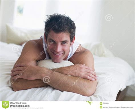 men in bed man lying in bed stock photo image 5929970