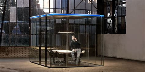 Living Room Partition by Maars Lineacube Collaborative Glass Shelter Arenson