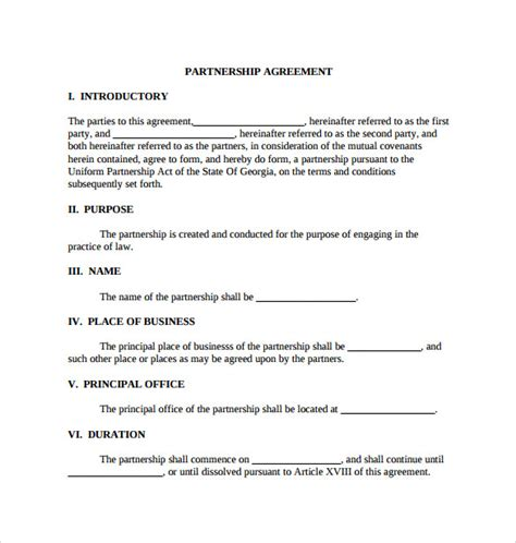 sle business partnership agreement partnership agreement template pdf 28 images sle