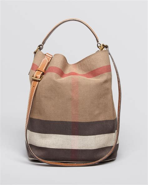 Burberry Check Canvas Hobo by Burberry Canvas Check Medium Ashby Hobo In Brown Saddle