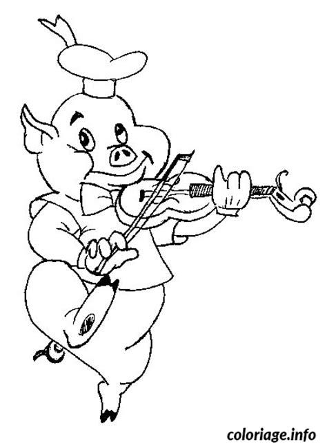 coloriage cochon qui joue du violon dessin