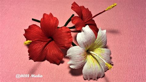 hibiscus paper flower tutorial how to make beautiful origami hibiscus paper flower crepe