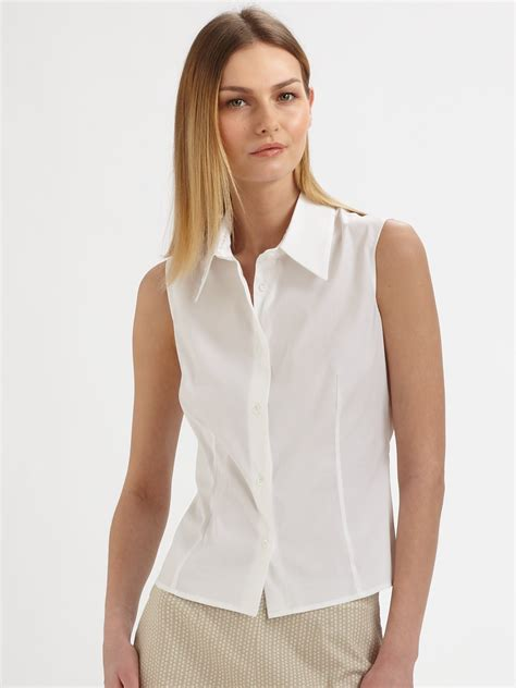 sleeveless blouse white lyst piazza sempione sleeveless blouse in white