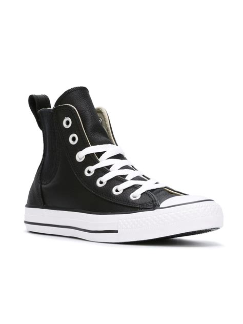 converse black sneakers converse chelsea style chuck sneakers in black lyst