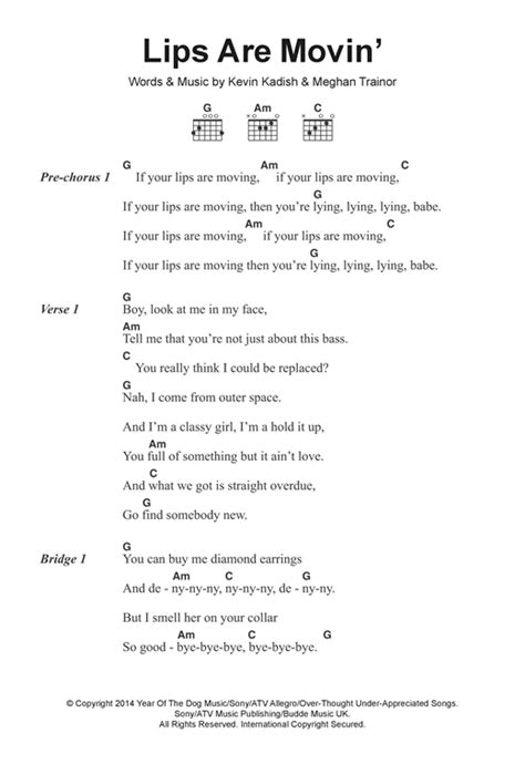 printable lyrics to your lips are moving lips are movin sheet music by meghan trainor lyrics