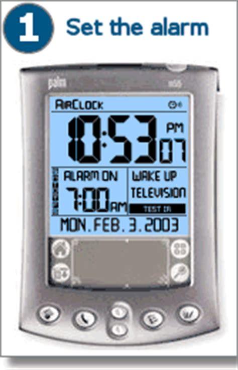 air clock  palm set  alarm  turn   tv radio