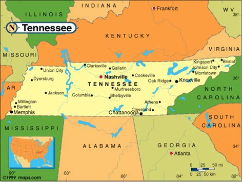 tn usa map tennessee counties road map usa