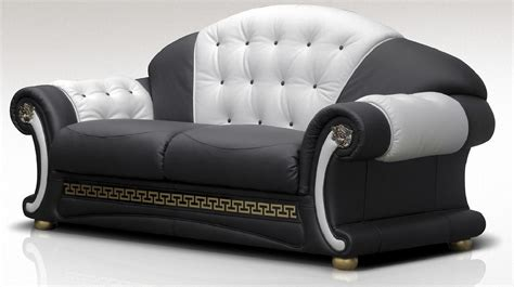 black and white italian leather sofas versace 3 seater sofa settee genuine italian black white
