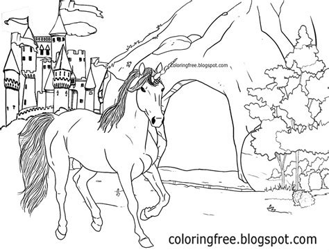 rainbow castle coloring page printable unicorn drawing mythical coloring book pictures