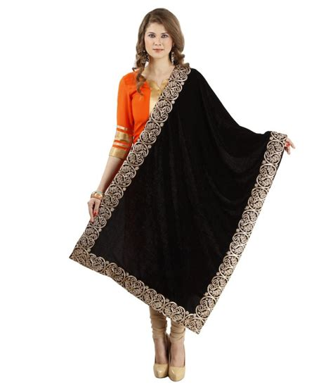 Fashmina Velvet ethnic route black velvet shawls price in india buy ethnic route black velvet shawls at