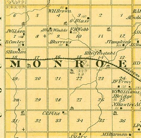 monroe county section 8 1875 map of monroe township benton county iowa