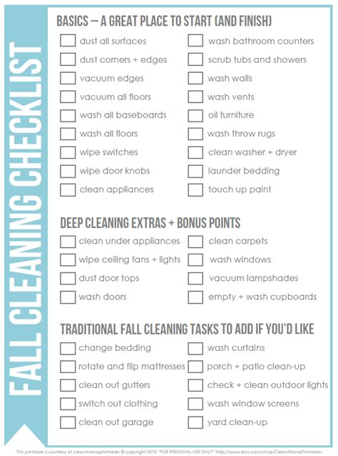 deep cleaning house checklist free fall cleaning checklist clean mama