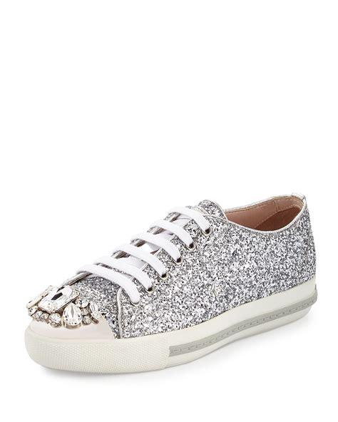miu miu sneakers miu miu glitter cap toe sneaker in metallic lyst