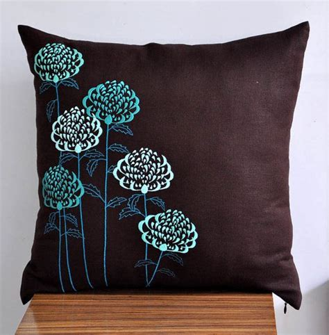 Teal And Brown Decorative Pillows Brown Teal Pillow Cover Decorative Throw Pillow Cover