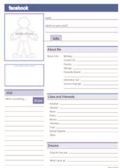 A Social Media Quot Facebook Quot Profile That Students Can Complete At The Beginning Of The School Year Social Media Profile Template