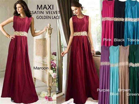 Dijamin Maxi Neesah Velvet jual dress maxi satin velvet seri golden lace harga murah jakarta oleh toko firsa mode