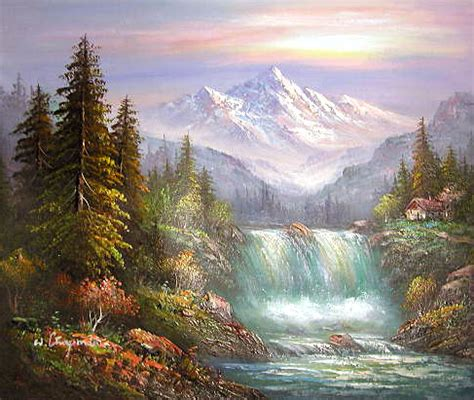 mountain landscape paintings yessy gt a gt original paintings gt waterfall country