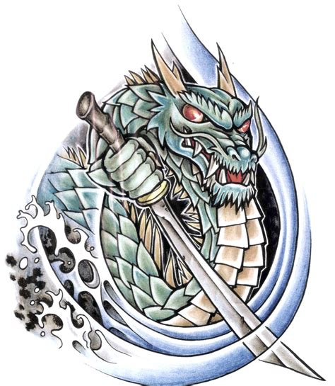 dragon flash tattoo designs with knife design wave and designs