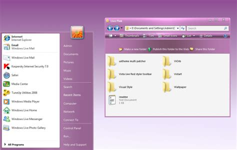 pink pack live for win xp themes for pc vista live pink theme for windows xp desktop themes